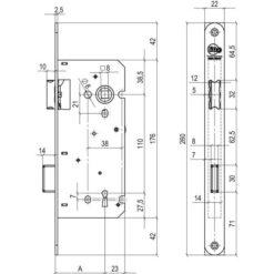 Litto baardslot a1353 technische tekening