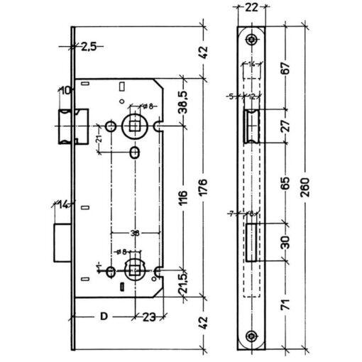Technische tekening Litto toiletslot