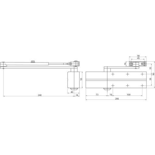 Assa Abloy DC140 - Technische tekening