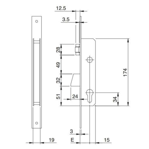 Iseo Electa rolschoot - Technische tekening