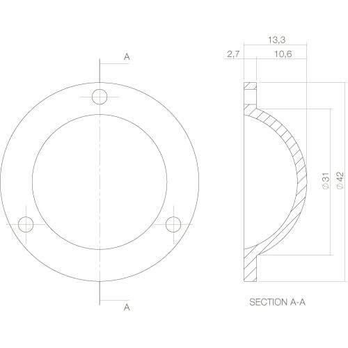 Intersteel Afdekplaatje Deurknop Koper gelakt - Technische tekening