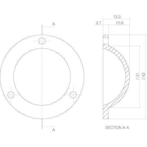 Intersteel Afdekplaatje Deurknop Koper getrommeld - Technische tekening