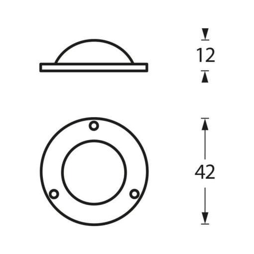 Intersteel Afdekplaatje Deurknop nikkel mat - Technische tekening