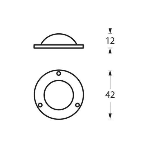 Intersteel Afdekplaatje tbv Deurknop chroom mat - Technische tekening