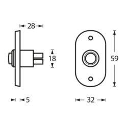 Intersteel Deurbel ovaal chroom - Technische tekening