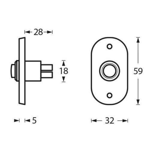 Intersteel Deurbel ovaal chroom mat - Technische tekening