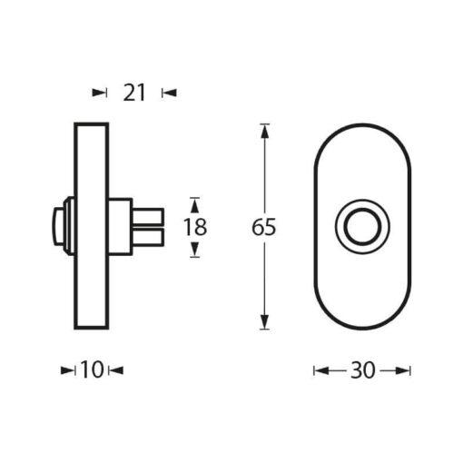 Intersteel Deurbel ovaal verdekt 65 x 30 x 10 mm INOX geborsteld - Technische tekening