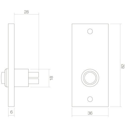 Intersteel Deurbel rechthoekig Koper gelakt - Technische tekening