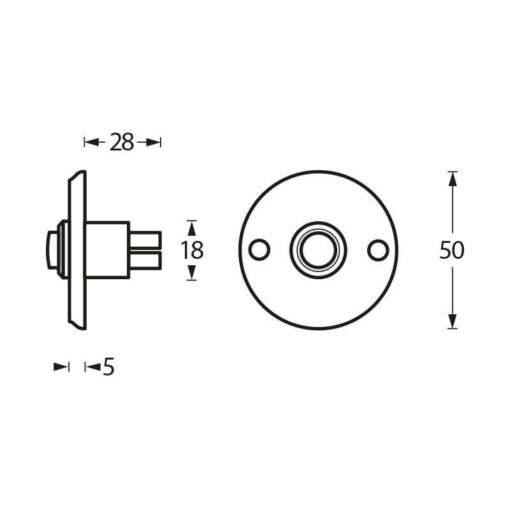 Intersteel Deurbel rond chroom - Technische tekening