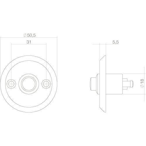Intersteel Deurbel rond schroefmodel Koper gelakt - Technische tekening