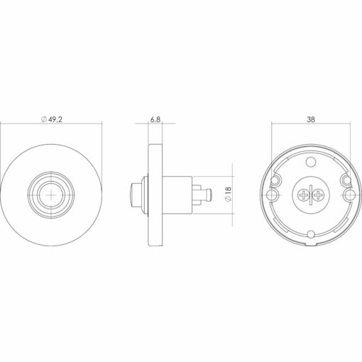 Intersteel Deurbel rond verdekt chroom mat - Technische tekening