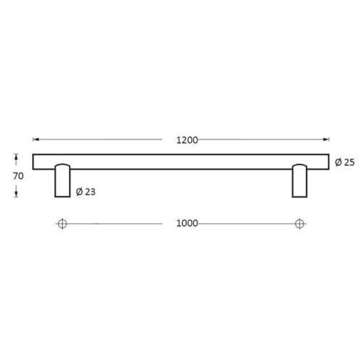 Intersteel Deurgreep 1200 mm T-vorm INOX geborsteld 70 mm - Technische tekening