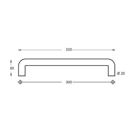 Intersteel Deurgreep 320 mm U-vorm INOX geborsteld - Technische tekening