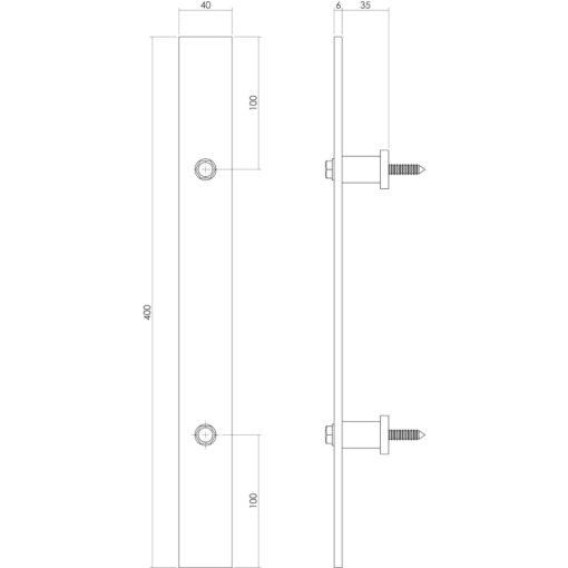 Intersteel Deurgreep 400 x 40 mm INOX geborsteld - Technische tekening
