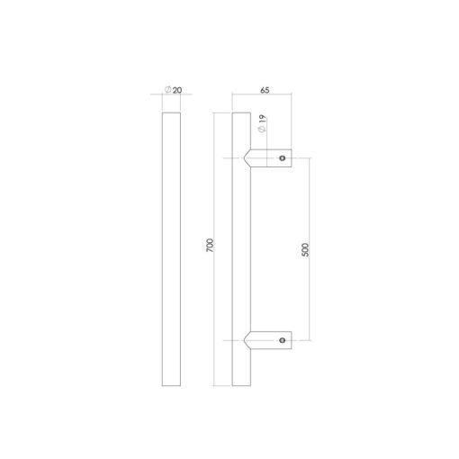 Intersteel Deurgreep 700 mm T-vorm INOX geborsteld 65 mm - Technische tekening