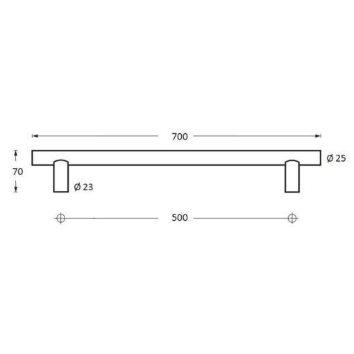Intersteel Deurgreep 700 mm T-vorm INOX geborsteld 70 mm - Technische tekening
