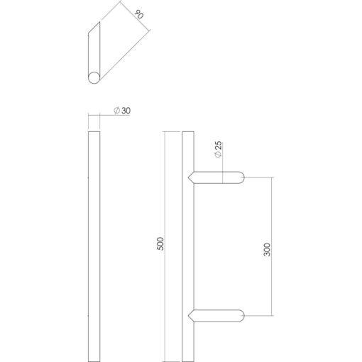Intersteel Deurgreep T-schuin diameter 30 mm - 500 mm INOX geborsteld - Technische tekening