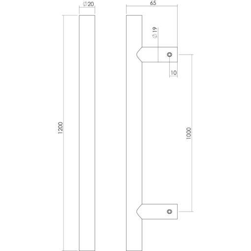 Intersteel Deurgreep T-vorm diameter 20 mm - 1200 mm INOX geborsteld - Technische tekening