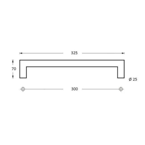 Intersteel Deurgrepen 325 mm recht-90° INOX geborsteld - Technische tekening