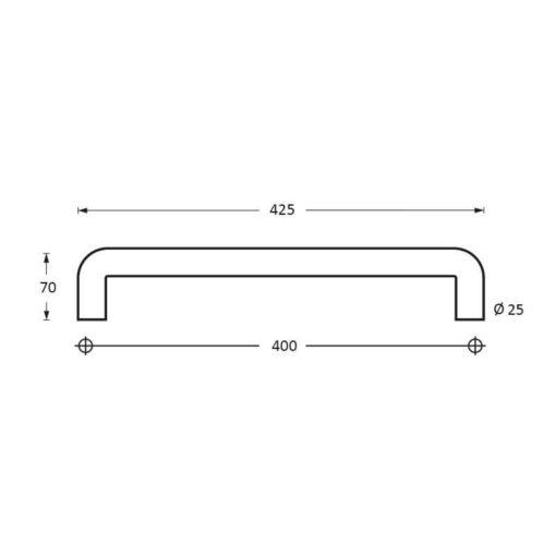 Intersteel Deurgrepen 425 mm U-vorm INOX geborsteld - Technische tekening