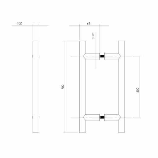 Intersteel Deurgrepen 700 mm T-vorm INOX geborsteld 65 mm - Technische tekening