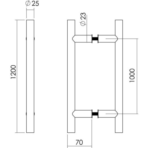 Intersteel Deurgrepen T-vorm diameter 25 mm - 1200 mm INOX geborsteld - Technische tekening