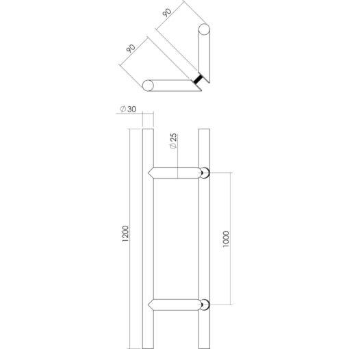 Intersteel Deurgrepen set T-schuin 1200 mm INOX geborsteld - Technische tekening
