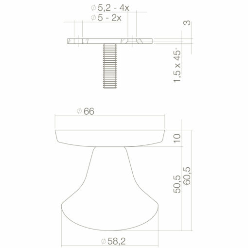 Intersteel Deurknop Paddenstoel Koper gelakt - Technische tekening