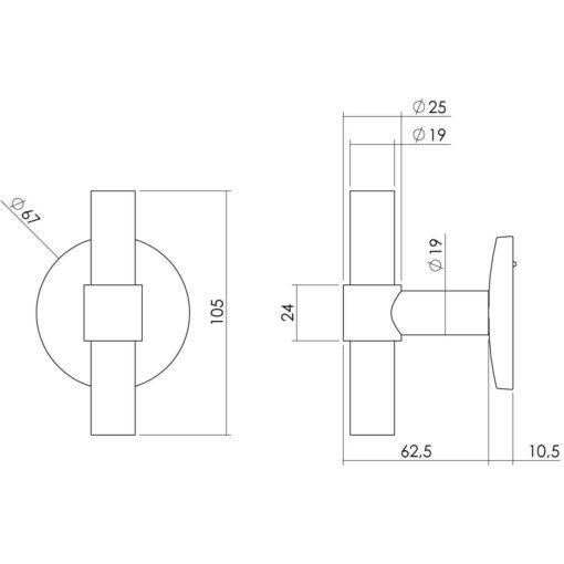 Intersteel Deurknop T-recht op ronde achterplaat INOX geborsteld - Technische tekening