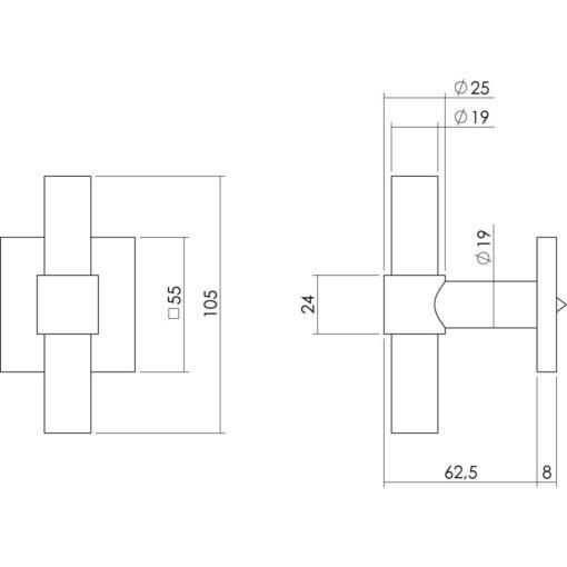 Intersteel Deurknop T-recht op vierkante achterplaat INOX geborsteld - Technische tekening