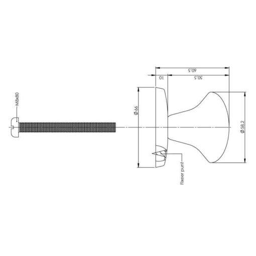 Intersteel Deurknop vast paddenstoel INOX geborsteld - Technische tekening