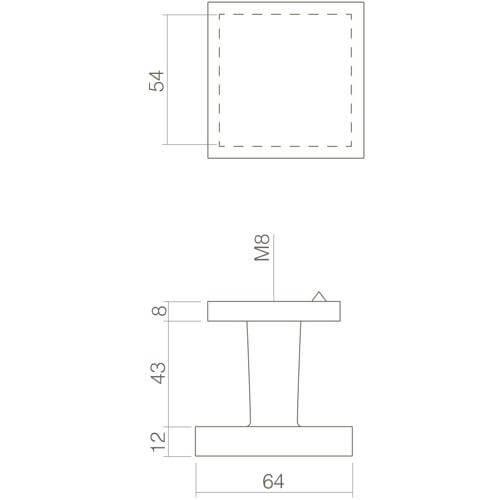 Intersteel Deurknop vast vierkant mat zwart - Technische tekening