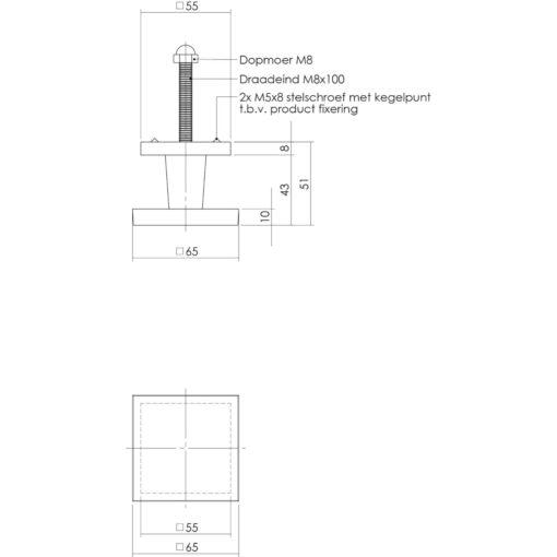 Intersteel Deurknop vierkant Koper ongelakt - Technische tekening