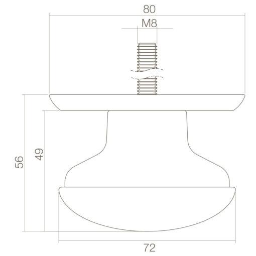 Intersteel Deurknop zwaar Koper getrommeld - Technische tekening
