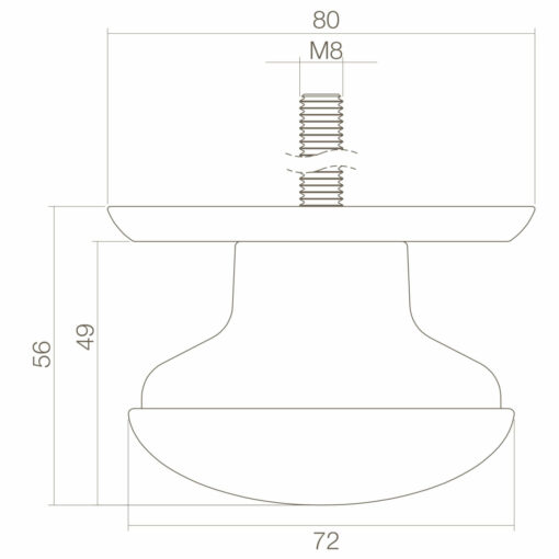 Intersteel Deurknop zwaar Koper ongelakt - Technische tekening