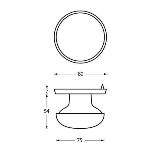 Intersteel Deurknop zwaar Koper titaan PVD - Technische tekening