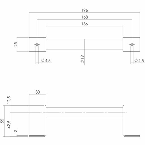 Intersteel Handgreep 196 x 25 mm antiek - Technische tekening