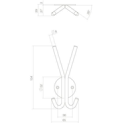 Intersteel Hoed-/jashaak INOX geborsteld - Technische tekening