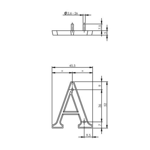 Intersteel Huisletter A chroom - Technische tekening