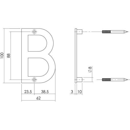 Intersteel Huisletter B 100 mm INOX geborsteld - Technische tekening