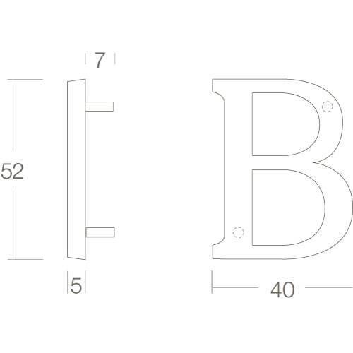 Intersteel Huisletter B chroom - Technische tekening