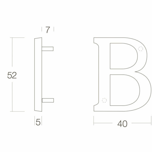 Intersteel Huisletter B chroom mat - Technische tekening