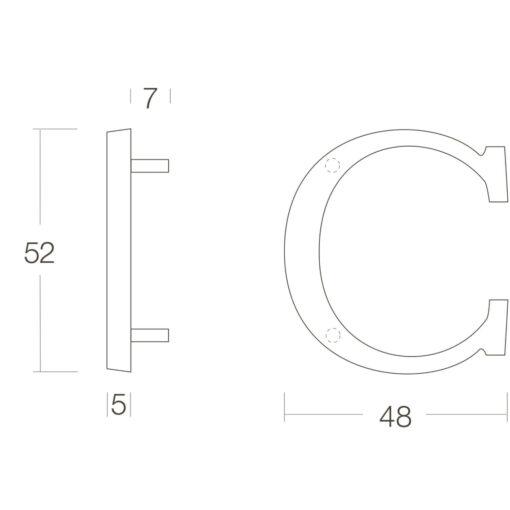 Intersteel Huisletter C chroom mat - Technische tekening