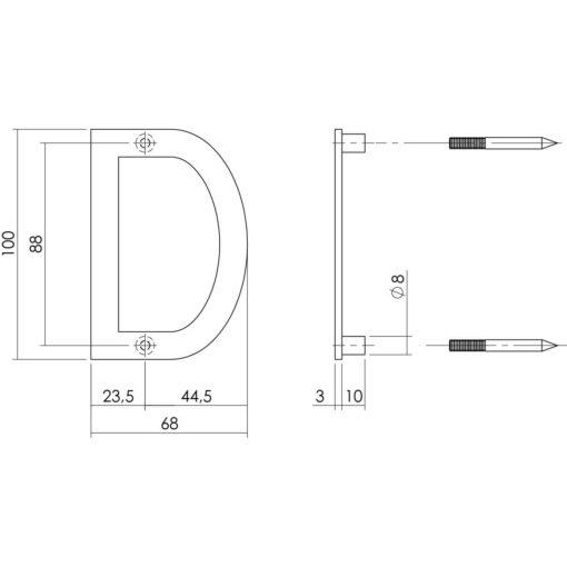 Intersteel Huisletter D 100 mm INOX geborsteld - Technische tekening