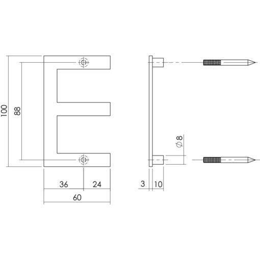 Intersteel Huisletter E 100 mm INOX geborsteld - Technische tekening