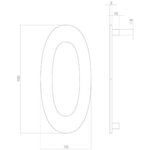 Intersteel Huisnummer 0 INOX mat zwart - Technische tekening