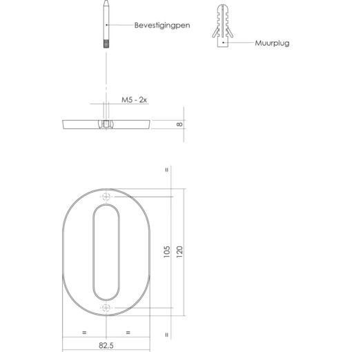 Intersteel Huisnummer 0 chroom mat - Technische tekening