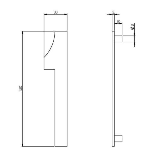 Intersteel Huisnummer 1 150 mm INOX geborsteld - Technische tekening