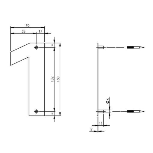 Intersteel Huisnummer 1 150x2mm INOX geborsteld - Technische tekening