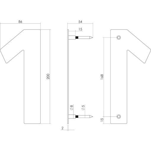 Intersteel Huisnummer 1 200 mm INOX geborsteld - Technische tekening